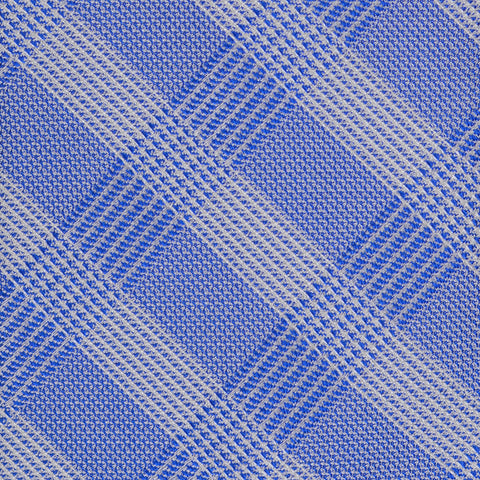 KITON Napoli Hand-Made Seven Fold Blue Silk Plaid Tie NEW