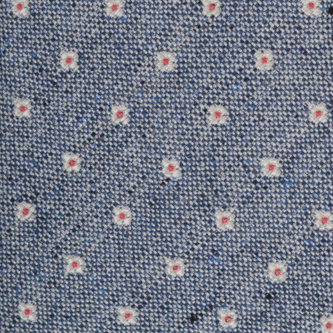 KITON Napoli Hand-Made Seven Fold Blue Small Flower Medallion Silk Tie NEW