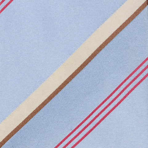 KITON Napoli Hand-Made Seven Fold Blue Striped Silk Tie NEW