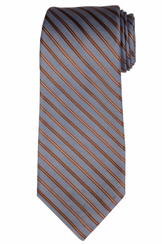 KITON Napoli Hand-Made Seven Fold Blue Striped Silk Tie NEW - SARTORIALE - 1