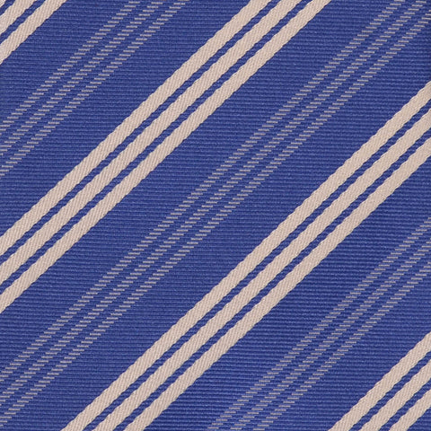 KITON Napoli Hand-Made Seven Fold Blue Striped Silk Tie NEW - SARTORIALE - 4