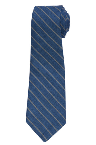 KITON Napoli Hand-Made Seven Fold Blue Striped Wool-Silk Tie NEW