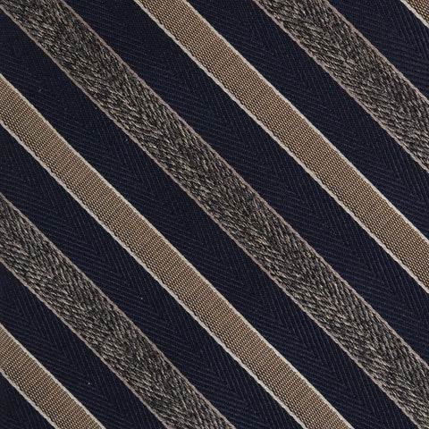 KITON Napoli Hand-Made Seven Fold Blue Textured Narrow-Striped Silk Tie NEW