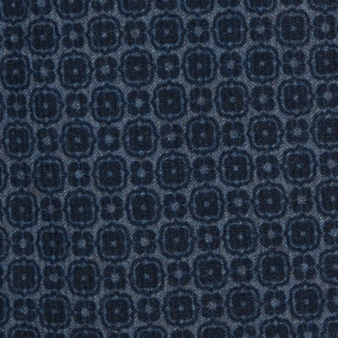 KITON Napoli Hand-Made Seven Fold Blue Wool-Silk Floral Tie NEW