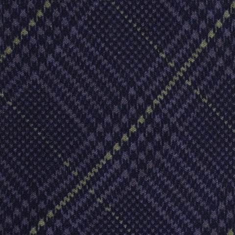 KITON Napoli Hand-Made Seven Fold Blue Wool-Silk Tartan Tie NEW