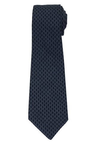 KITON Napoli Hand-Made Seven Fold Blue Wool-Silk Thunder Tie NEW