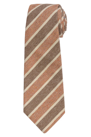 KITON Napoli Hand-Made Seven Fold Brown-Beige Narrow-Striped Silk Tie NEW
