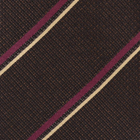 KITON Napoli Hand-Made Seven Fold Brown-Black Plain Weave Striped Silk Tie NEW - SARTORIALE - 4