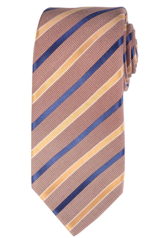 KITON Napoli Hand-Made Seven Fold Brown-Blue-Yellow Striped Silk Tie NEW - SARTORIALE - 1