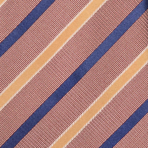 KITON Napoli Hand-Made Seven Fold Brown-Blue-Yellow Striped Silk Tie NEW - SARTORIALE - 4