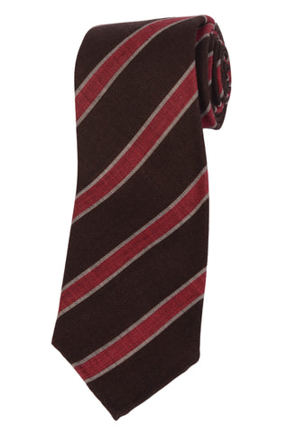 KITON Napoli Hand-Made Seven Fold Brown-Burgundy Striped Wool Tie NEW