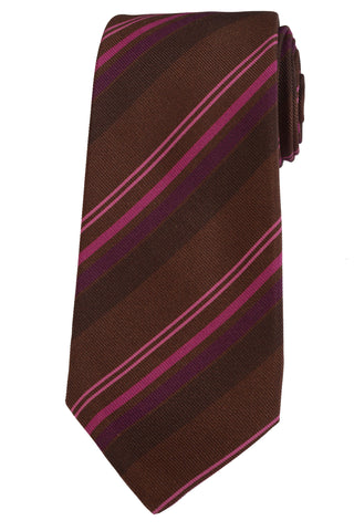 KITON Napoli Hand-Made Seven Fold Brown-Cyclamen Diagonal Striped Silk Tie NEW - SARTORIALE - 1