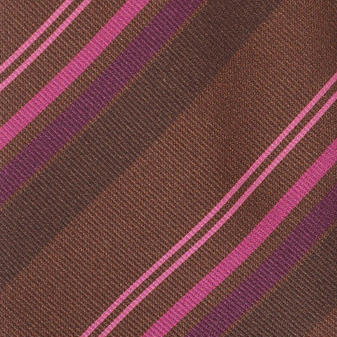 KITON Napoli Hand-Made Seven Fold Brown-Cyclamen Diagonal Striped Silk Tie NEW - SARTORIALE - 4