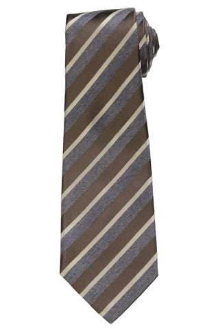 KITON Napoli Hand-Made Seven Fold Brown-Gray Striped Silk Tie NEW