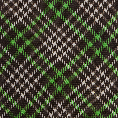 KITON Napoli Hand-Made Seven Fold Brown-Green Plaid Silk Tie NEW
