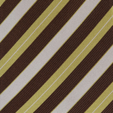 KITON Napoli Hand-Made Seven Fold Brown-Green-Gray Striped Silk Tie NEW