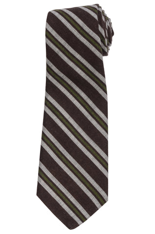 KITON Napoli Hand-Made Seven Fold Brown-Green Striped Wool-Silk Tie NEW