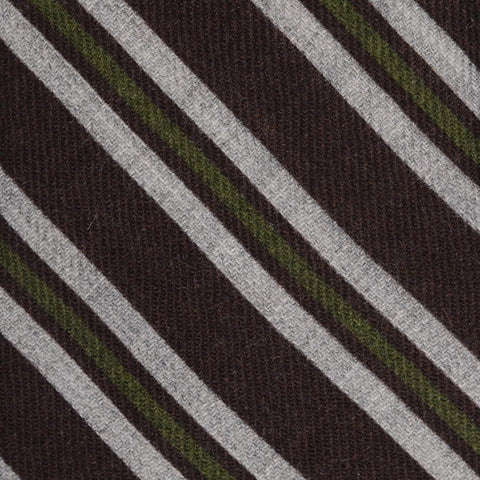 KITON Napoli Hand-Made Seven Fold Brown-Gray-Green Striped Wool-Silk Tie NEW