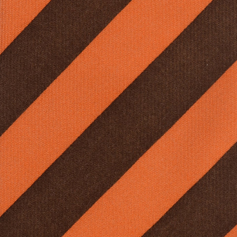 KITON Napoli Hand-Made Seven Fold Brown-Orange Striped Cashmere Tie NEW