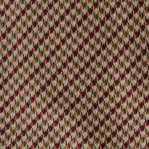 KITON Napoli Hand-Made Seven Fold Brown-Red Plaid Silk Tie NEW