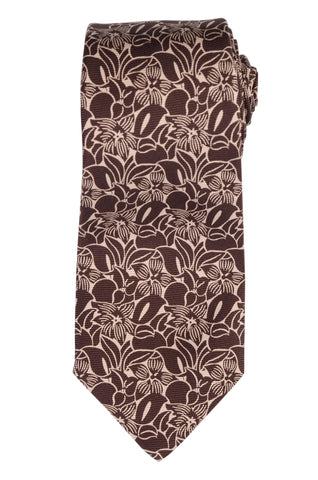 KITON Napoli Hand-Made Seven Fold Brown-White Floral Silk Tie NEW