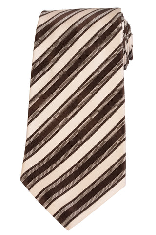 KITON Napoli Hand-Made Seven Fold Brown-White Rope Striped Silk Tie NEW - SARTORIALE - 1