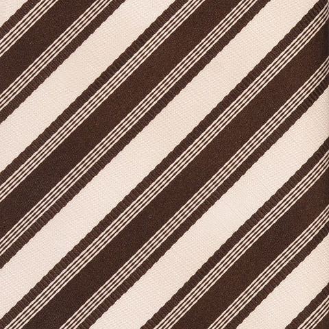 KITON Napoli Hand-Made Seven Fold Brown-White Rope Striped Silk Tie NEW - SARTORIALE - 4