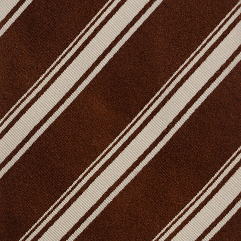 KITON Napoli Hand-Made Seven Fold Brown-White Striped Silk Tie NEW