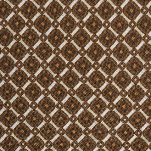 KITON Napoli Hand-Made Seven Fold Brown Circle Medallion Silk Tie NEW