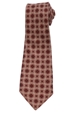 KITON Napoli Hand-Made Seven Fold Brown Circle Medallion Wool-Silk Tie NEW