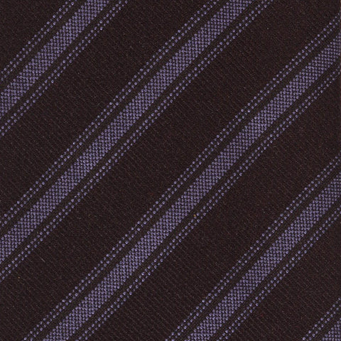 KITON Napoli Hand-Made Seven Fold Brown Diagonal Striped Silk Tie NEW - SARTORIALE - 4