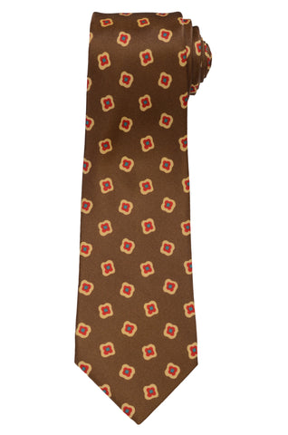 KITON Napoli Hand-Made Seven Fold Brown Floral Medallion Silk Tie NEW