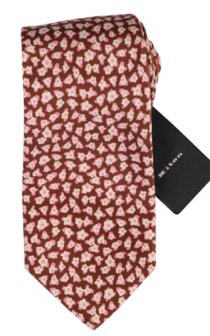 KITON Napoli Hand-Made Seven Fold Brown Floral Silk Tie NEW