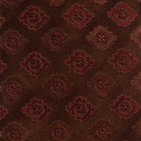 KITON Napoli Hand-Made Seven Fold Brown Flower Medallion Silk Tie NEW - SARTORIALE - 4