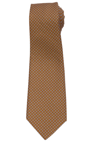 KITON Napoli Hand-Made Seven Fold Brown Houndstooth Silk-Cashmere Tie NEW