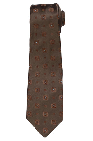 KITON Napoli Hand-Made Seven Fold Brown Medalion Silk Tie NEW