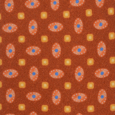 KITON Napoli Hand-Made Seven Fold Brown Medallion Cashmere-Silk Tie NEW