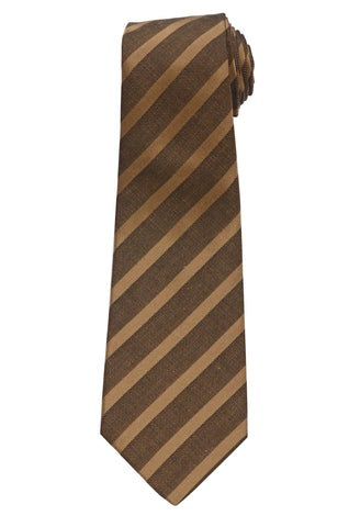 KITON Napoli Hand-Made Seven Fold Brown Narrow-Striped Silk Tie NEW