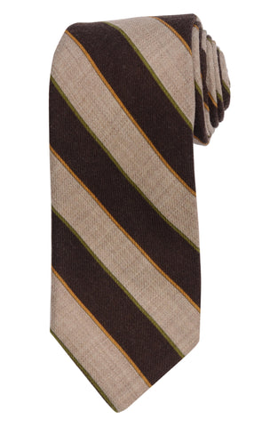 KITON Napoli Hand-Made Seven Fold Brown Narrow-Striped Wool-Silk Tie NEW