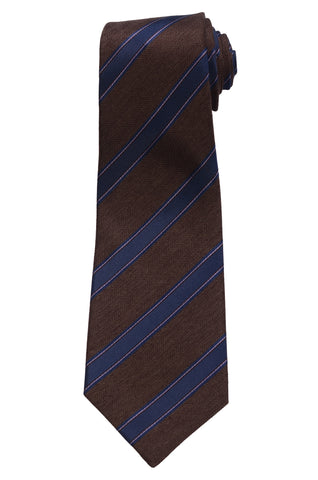 KITON Napoli Hand-Made Seven Fold Brown Narrow Herringbone Striped Silk Tie NEW