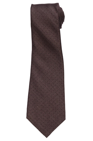 KITON Napoli Hand-Made Seven Fold Brown Pin Dot Silk Tie NEW