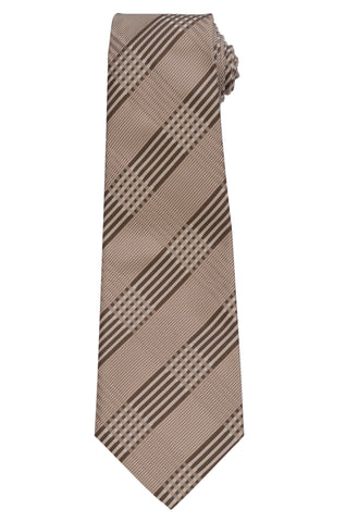 KITON Napoli Hand-Made Seven Fold Brown Plaid Silk Tie NEW