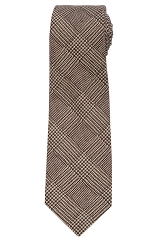 KITON Napoli Hand-Made Seven Fold Dark Brown Glen Plaid Silk Tie NEW