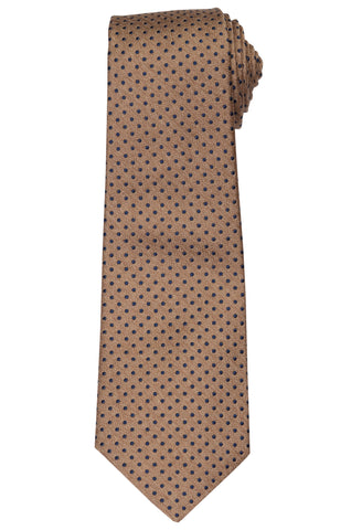 KITON Napoli Hand-Made Seven Fold Brown Polka-Dot Silk Tie NEW