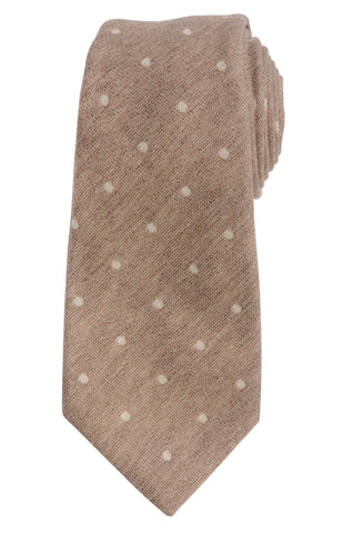 KITON Napoli Hand-Made Seven Fold Brown Polka-Dot  Wool-Silk Tie NEW