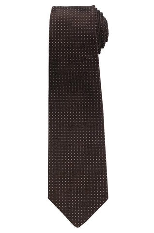 KITON Napoli Hand-Made Seven Fold Brown Polka Dot Silk Tie NEW
