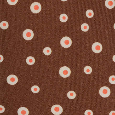 KITON Napoli Hand-Made Seven Fold Brown Printed Polka-Dot Silk Tie NEW