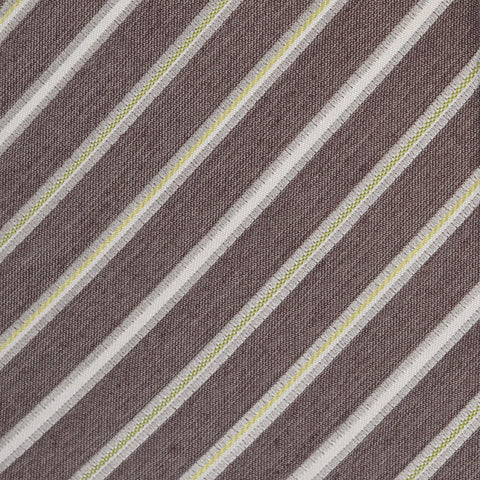 KITON Napoli Hand-Made Seven Fold Brown Rope-Striped Silk Tie NEW