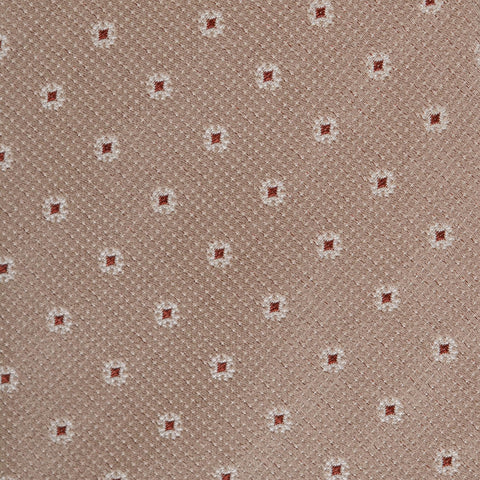 KITON Napoli Hand-Made Seven Fold Brown Small Floral Medallion Silk Tie NEW