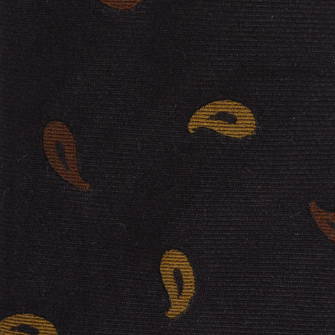 KITON Napoli Hand-Made Seven Fold Brown Small Paisley Silk Tie NEW